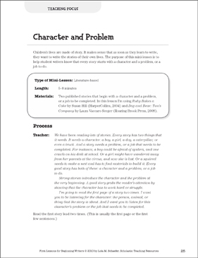 Character and Problem - Focus: Beginning Writer Mini-Lesson - Printable Worksheet