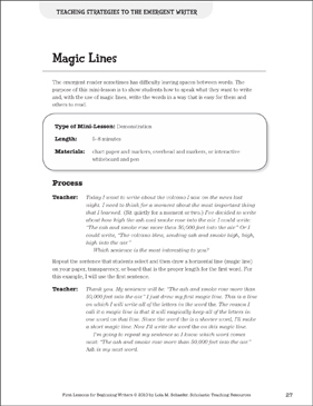 Magic Lines - Writing Strategies: Beginning Writer Mini-Lesson - Printable Worksheet