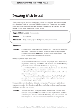Drawing With Detail - Adding Detail: Beginning Writer Mini-Lesson - Printable Worksheet