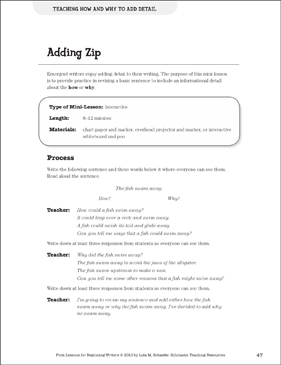Adding Zip - Adding Detail: Beginning Writer Mini-Lesson - Printable Worksheet