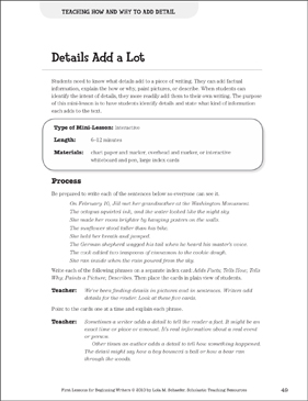 Details Add a Lot - Adding Detail: Beginning Writer Mini-Lesson - Printable Worksheet