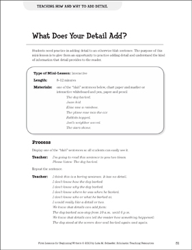 What Does Your Detail Add? - Adding Detail: Beginning Writer Mini-Lesson - Printable Worksheet
