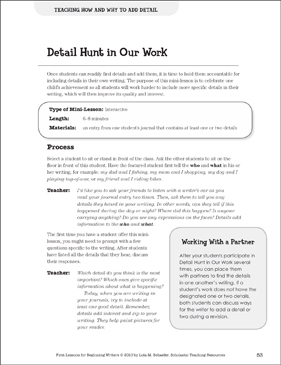 Detail Hunt in Our Work - Adding Detail: Beginning Writer Mini-Lesson - Printable Worksheet