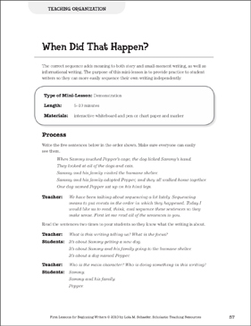 When Did That Happen? Organization: Beginning Writer Mini-Lesson - Printable Worksheet