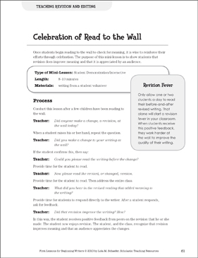 Celebration of Read to the Wall - Revision and Editing: Beginning Writer Mini-Lesson - Printable Worksheet