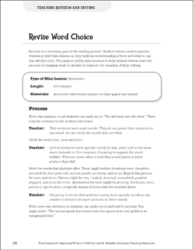 Revise Word Choice - Revision and Editing: Beginning Writer Mini-Lesson - Printable Worksheet