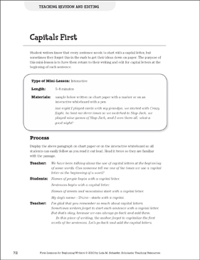 Capitals First - Revision and Editing: Beginning Writer Mini-Lesson - Printable Worksheet