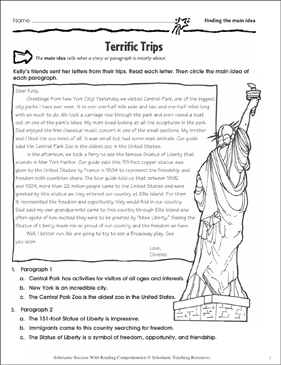 Terrific Trips (Finding the Main Idea) - Printable Worksheet