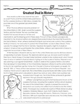 Greatest Deal in History (Finding the Main Idea) - Printable Worksheet