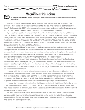 Magnificent Musicians (Comparing and Contrasting) - Printable Worksheet