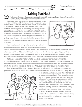 Talking Too Much (Analyzing Characters) - Printable Worksheet