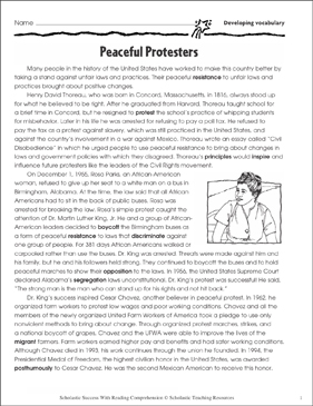 Peaceful Protesters (Developing Vocabulary) - Printable Worksheet