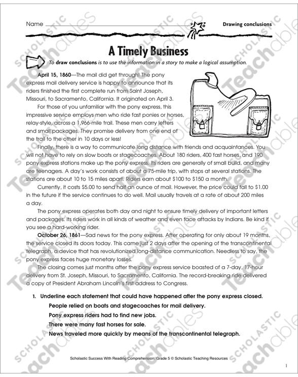 A Timely Business Drawing Conclusions Printable Skills Sheets