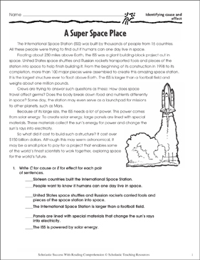 A Super Space Place (Identifying Cause and Effect/Reviewing Skills) - Printable Worksheet