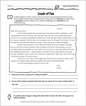 Loads of Fun (Appreciating Literature) - Printable Worksheet