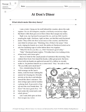 At Don's Diner: Text & Questions - Printable Worksheet