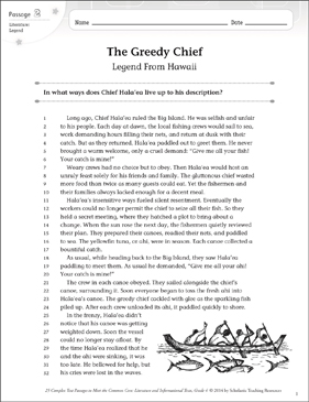 The Greedy Chief: Text & Questions - Printable Worksheet