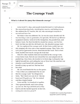 The Courage Vault: Text & Questions - Printable Worksheet