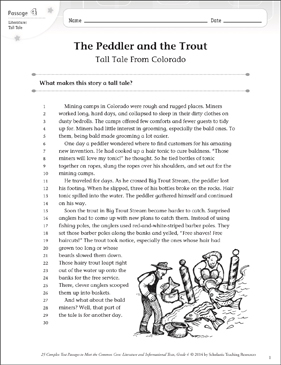 The Peddler and the Trout: Text & Questions - Printable Worksheet