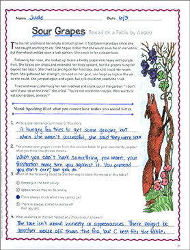 Sour Grapes: Text & Questions - Printable Worksheet