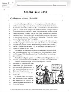 Seneca Falls, 1848: Text & Questions - Printable Worksheet