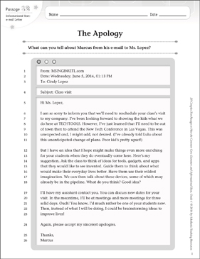 The Apology: Text & Questions - Printable Worksheet