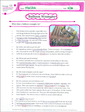 Balloon Wrangler: Text & Questions - Printable Worksheet