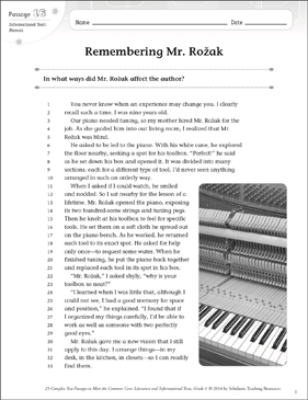 Remembering Mr. Rozak: Text & Questions - Printable Worksheet
