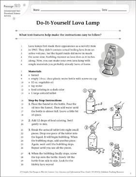 Do-It-Yourself Lava Lamp: Text & Questions - Printable Worksheet