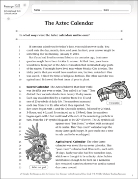 The Aztec Calendar: Text & Questions - Printable Worksheet