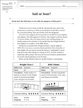 Sail or Soar?: Text & Questions - Printable Worksheet