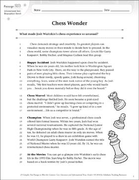 Chess Wonder: Text & Questions - Printable Worksheet