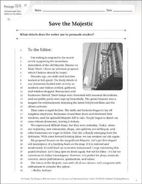 Save the Majestic: Text & Questions - Printable Worksheet