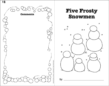 five frosty snowmen write and read book printable mini books