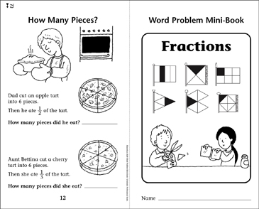 Fractions: Word Problems Mini-Book - Printable Worksheet