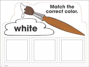 White: Color Mats (Match, Trace, Write) - Printable Worksheet