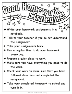 Good Homework Strategies! Chart - Printable Worksheet