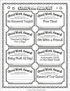 Classroom Awards! - Printable Worksheet