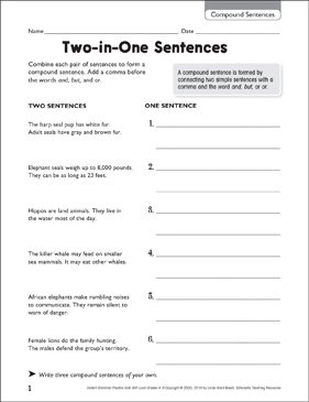 Two-in-One Sentences (Compound Sentences) - Printable Worksheet