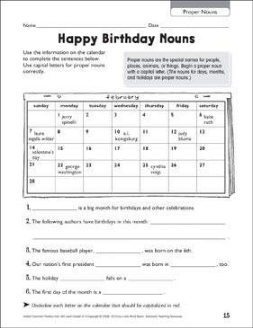 Happy Birthday Nouns (Proper Nouns) - Printable Worksheet