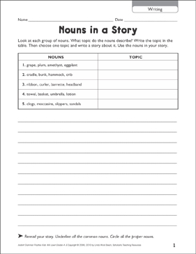 Nouns in a Story (Writing) - Printable Worksheet
