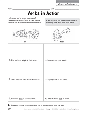 Verbs in Action - Printable Worksheet