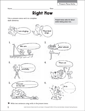 Right Now (Present-Tense Verbs) - Printable Worksheet