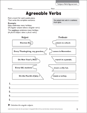 Agreeable Verbs (Subject-Verb Agreement) - Printable Worksheet