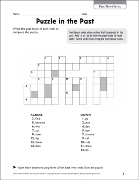 Puzzle in the Past (Past-Tense Verbs) - Printable Worksheet