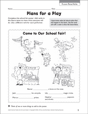 Plans for a Play (Future-Tense Verbs) - Printable Worksheet
