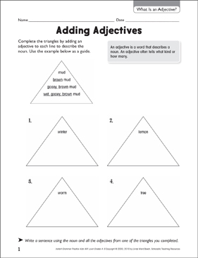 Adding Adjectives - Printable Worksheet