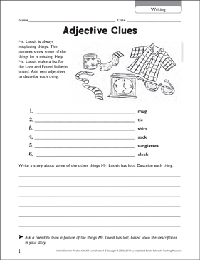 Adjective Clues (Writing) - Printable Worksheet