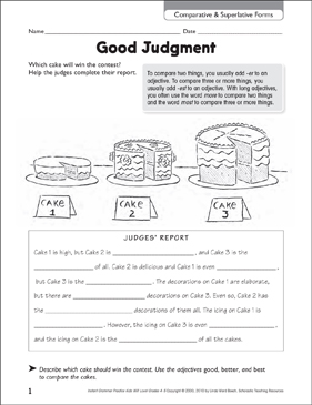 Good Judgment (Comparative & Superlative Forms) - Printable Worksheet