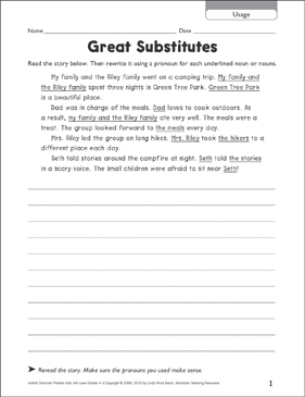 Great Substitutes (Usage) - Printable Worksheet